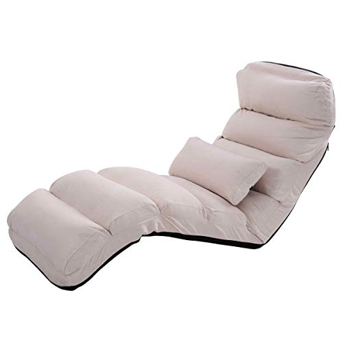 Giantex Folding Lazy Sofa Chair Stylish Sofa Couch Beds Lounge Chair W/Pillow (Beige) (Chair Lounge Pillows)