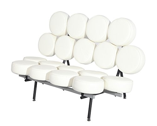 MLF Nelson Marshmallow Sofa Imported Italian Leather, Comfortable, Solid, Durable, Artistic, Easy Cleaning and Interchanged, Floor Protector Pads Adjustable, White/Cream