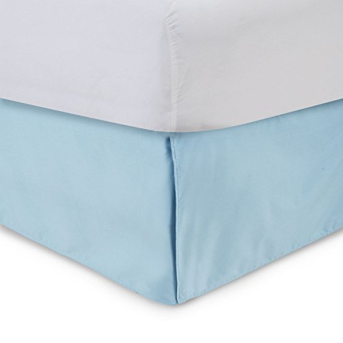 (Harmony Lane Tailored Bed Skirt - 21 inch Drop, Porcelain Blue, Twin Bedskirt with Split Corners (Available in and 16 Colors))