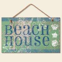 New Beach House Plaque Coastal Wall Decor Seashell Sign (New House Plaque)