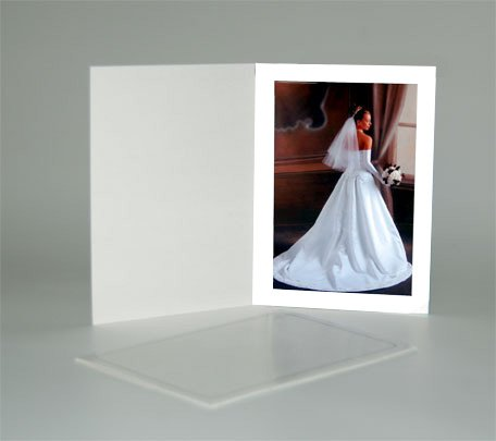 Cardboard Photo Folder for a 5x7 Photo - White Stock - Pack of 50