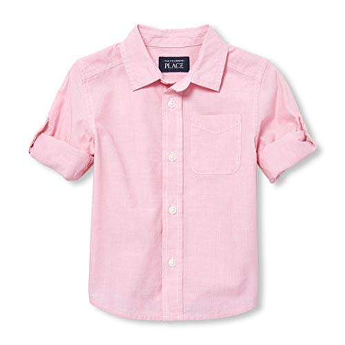 (The Children's Place Baby Boys Solid Long Sleeve Button Down, Desert Dawn 4T)