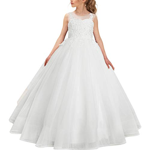 Stunning Ivory Ball Gown Pageant Dresses for Girls Floor Length Flower Puffy Tulle Prom Wedding Birthday Party ()