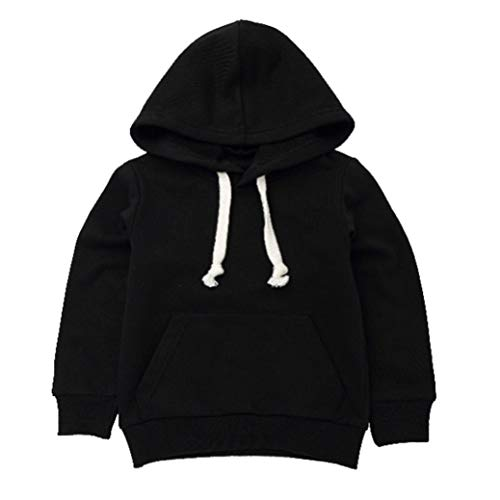 Moonker Baby Sweatshirt 1-6 Years Old,Toddler Boy Girl Kids Autumn Winter Long Sleeve Solid Hooded Casual Tops Pullover (4-5 Years Old, Black)