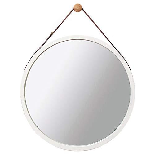 Espejo Redondo de Pared Espejo de bano Espejo de tocador Espejo de bano Espejo Decorativo de Madera de Dormitorio Espejo Redondo con Cuerda (45cm 45cm, White)