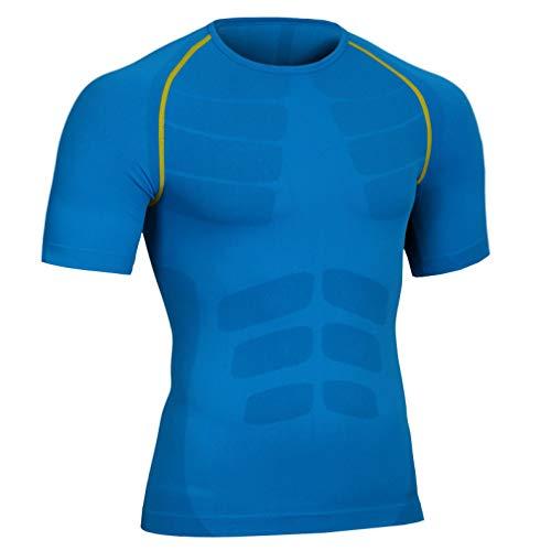 Mens Seamless Compression T Shirt Hide Gynecomastia Moobs Slimming Body Shaper Vest Shirt Abs Abdomen Blue Green
