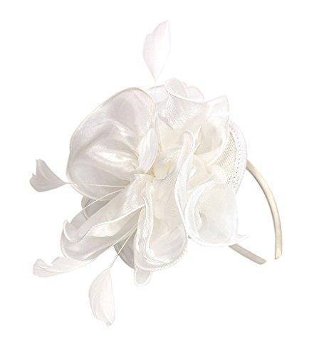 Urban CoCo Women's Vintage Flower Feather Mesh Net Fascinator Hair Clip Hat Party Wedding (Series 4-White) (White Net Hair Nylon)