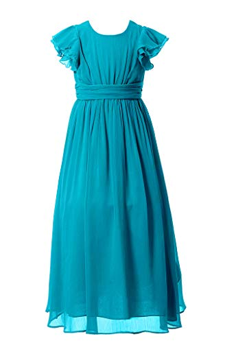 Happy Rose Flower Girl's Dress Prom Party Bridesmaid Dress Long Peacock Blue 6 (Peacock Party Dress)