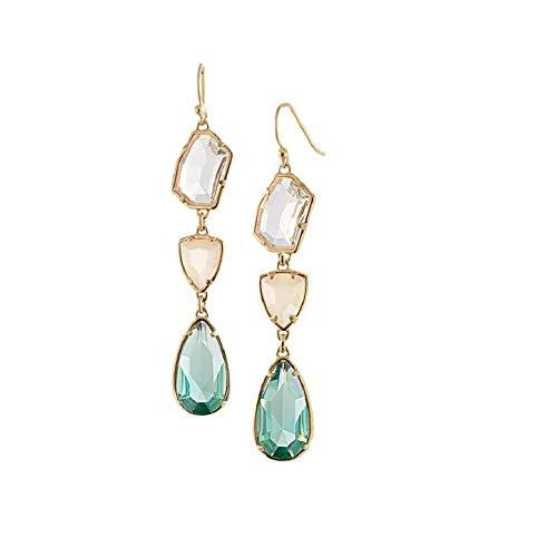 Newyht Crystal Fashion Earrings Classic Vintage Dangle Drop Earrings for Women Girls (Green)