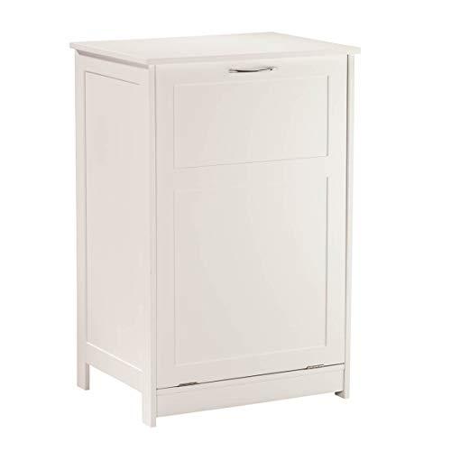 (OakRidge Tilt Out Laundry Hamper Bin - Freestanding Bathroom Storage Cabinet - White - 29 ½