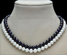 2 Row 7-8mm Black & White Freshwater Pearl Necklace ()