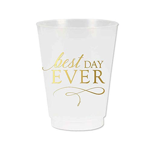 - Best Day Ever Cups, Bridal Shower Cups, Best Day Ever Wedding Cups, Frosted Plastic with Metallic Gold Ink, Best Day Ever Shower Theme Decor, Set of 10