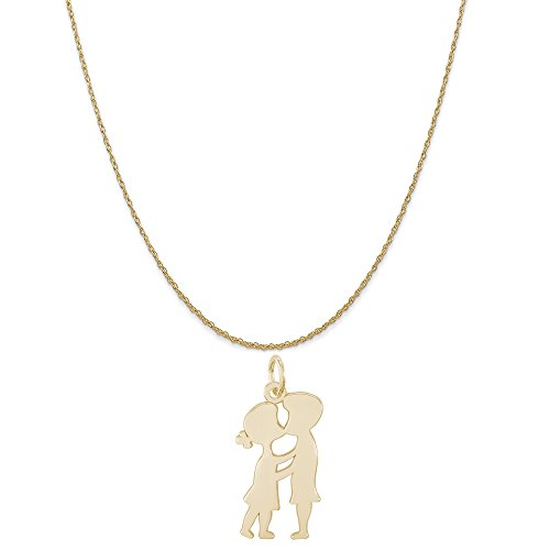 Rembrandt Charms 10K Yellow Gold Boy and Girl Kissing Charm on a Rope Chain Necklace, 20'' by Rembrandt Charms