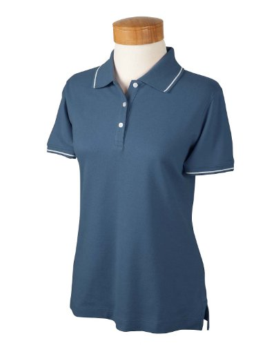 Devon & Jones Ladies Pima Pique Tipped Polo Shirt , SLATE BLUE/WHITE, X-Large - White Tipped Pique Sport Shirt