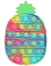 YIMEIM Pop It Ananas, decompressie-ananasseelspeelgoed, kleurrijk, milieuvriendelijk, duurzaam, zacht, wasbaar, waterdicht voor kinderen en volwassenen