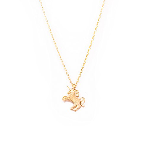 Gold Unicorn Charm - Me Plus Unicorn Small Charm Necklace Tiny Cute Pendant with Adjustable Clasp (Gold)