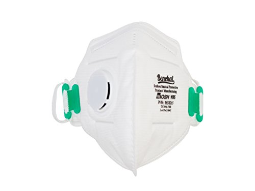 PneumaticPlus Benehal Respirator Disposable Dust Mask - NIOSH N95 Approved with Nose Clip and Exhaust Valve, Pack of 10 by PneumaticPlus (Image #1)