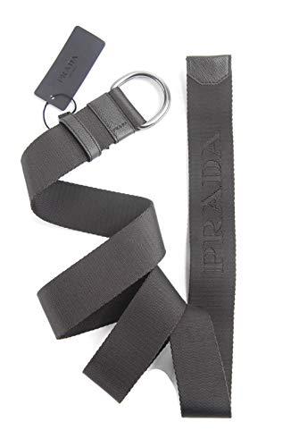 Prada Dark Brown Saffiano Leather & Jacquard Logo Adjustable Belt (Prada Logo Jacquard)