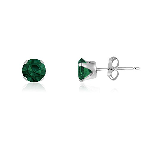 - 3MM Classic Brilliant Round Cut CZ Sterling Silver Stud Earrings - EMERALD GREEN or Choose From 13 Colours. 3-EMER