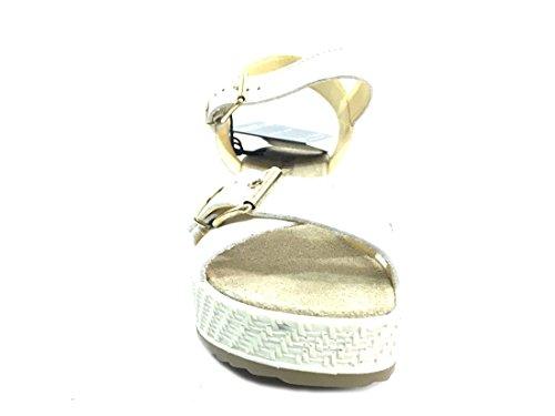 Enval Soft sandali da donna linea comoda in pelle col. Bianco alt. zeppa cm. 6, num. 39