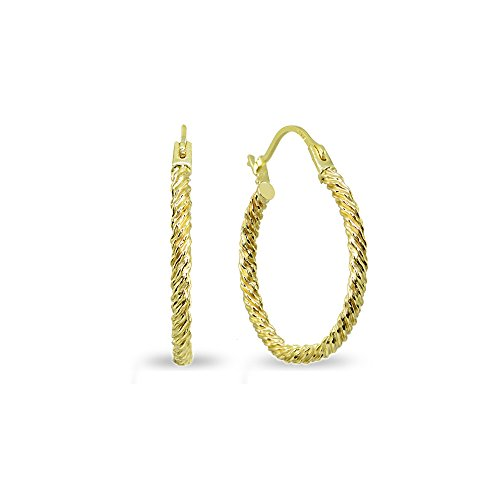 14K Gold 2x18mm Textured Twist Round Lightweight Click-Top Hoop Earrings by Hoops 4 Less