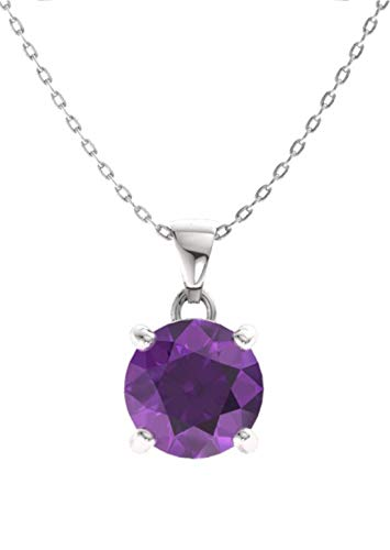 Diamondere Natural and Certified Amethyst Solitaire Petite Necklace in 14k White Gold | 0.42 Carat Pendant with Chain