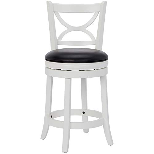 Ball & Cast Jayden Hardwood Counter-Height Swivel Bar Stool with Faux-Leather Upholstery, 24-Inch, Farmhouse White ()