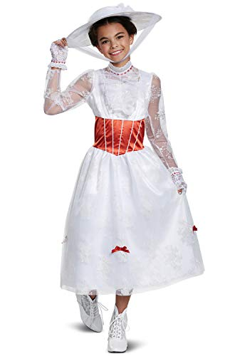Disguise Mary Poppins Deluxe Child Costume, White, Large/(10-12)