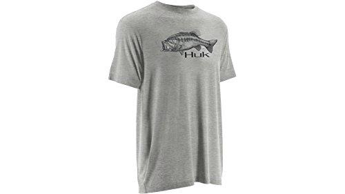 Huk KScott American Bass Sketch Tee True Grey Heather XL H10