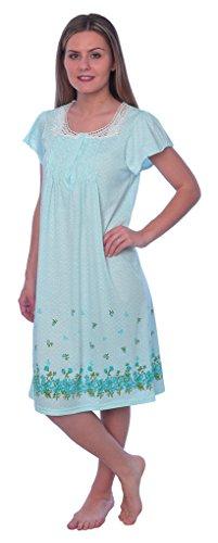 Beverly Rock Women's Floral Print Short Sleeve Knit Nightgown RUU119 Green XXL