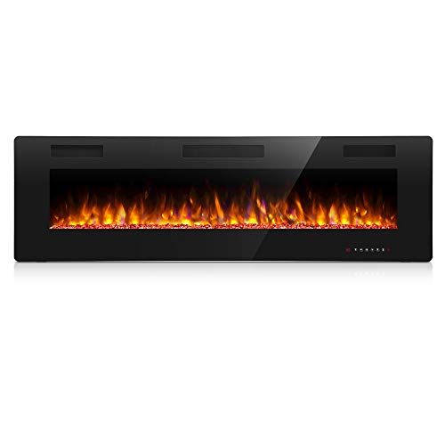 Antarctic Star 50 Inch Electric Fireplace in-Wall Recessed and Wall Mounted, 750/1500 Fireplace Heater and Linear Fireplace with Multicolor Flame, Control by Touch Panel