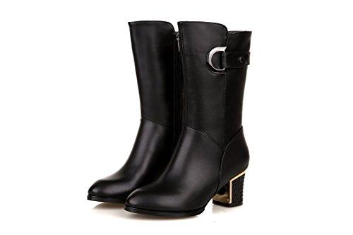 YFF Weihnachten Geschenke weibliche Stiefel seitlicher Reißverschluss Mitte Stiefel High Heel rauhe Ferse Black