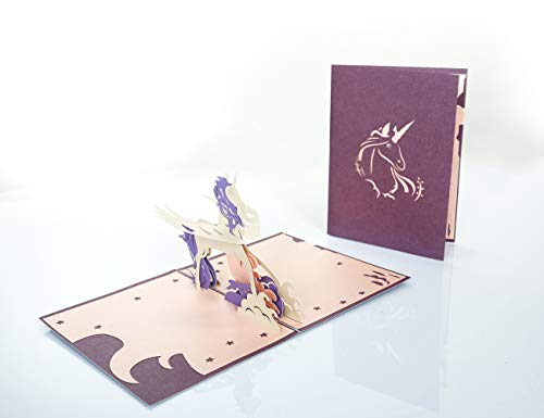 Unicorn Pop Up Cards- Includes Hidden Note Part and Special Designed Envelope for Unicorn Themed Party Favors and Supplies, Unicorn Gifts and Toys for Girls, 3D Handmade Kirigami Stuff Postcards