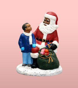 Figurines Santa Black (African American Christmas Santa Claus with Boy)