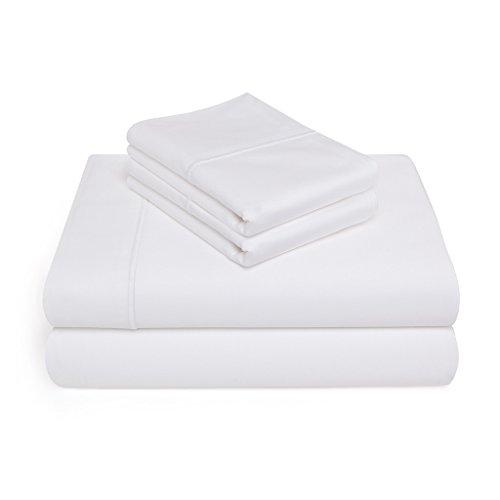 CottonWorks Exclusive 1000 Thread Count Single Ply 100% Pima Cotton 4 Piece Sheet Set - King Size, White (Pima Sheets Cotton)