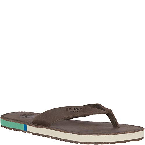 (SPERRY Women's Wharf Thong Leather Sandal, Chocolate, 6 M US)