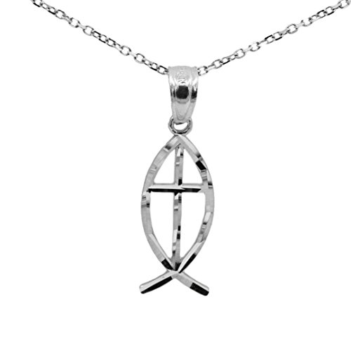 Ichthus Jewelry (10k White Gold Ichthus Fish Necklace (No Chain))