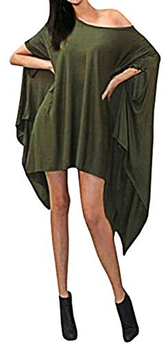 TINYHI Cape Dress Paired with Pants Leggings Underneath Army Green