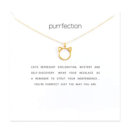 HUNO Dainty Lucky Elephant Horseshoe Clavicle Chain Key Angel Wing Hexagram Star Pendant Necklace Friendship BFF Jewelry (Cat)