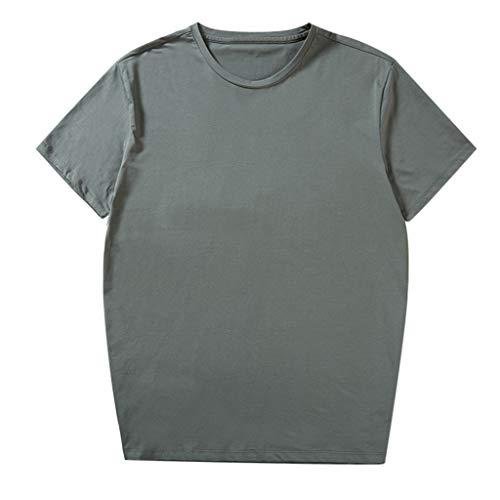 ae8eceeda2a TOPUNDER Men Fashion Solid Cotton Design T-Shirt Casual Tops Blouse Plus  Size 2xl-6xl Green