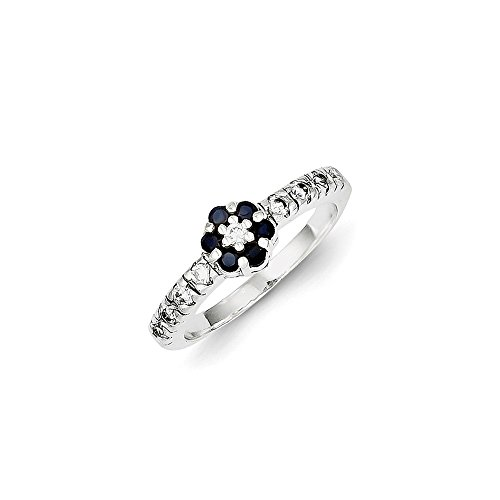 Sterling Silver Polished Open back Cubic Zirconia Sapphire Ring - Size 8 ()