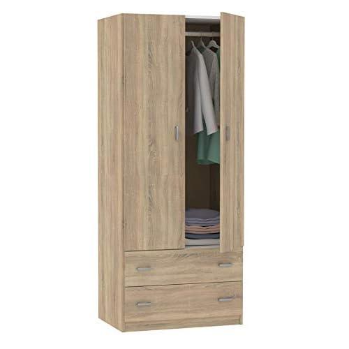 Armario ropero 2 Puertas 2 cajones habitación Juvenil Matrimonio Auxiliar Color Cambrian 180x74x50 cm a buen precio