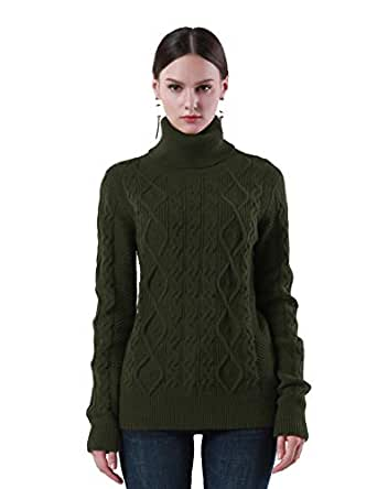 PrettyGuide Women's Turtleneck Sweater Long Sleeve Cable Knit Sweater Pullover Tops S Army Green