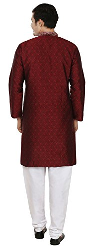 Mapleclothing Jacquard Kurta Apparel Indiano Partito Pajama Maroon Seta Uomo Wear rqPfBr