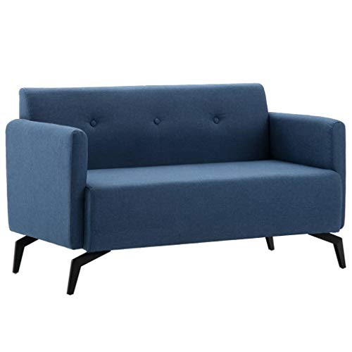 Tidyard Sofá de 2 Plazas,Sofá de Salón con Estructura de Madera,Tapicería de Tela,115x60x67cm Azul a buen precio