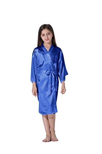 Vogue Forefront Girls' Satin Plain Kimono Robe Bathrobe Nightgown, Size 4, Royal Blue - Blue Girls Robe