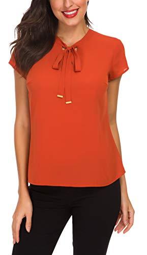 ACONIYA Womens Bow Tie Neck Long/Short Sleeve Blouse Office Work Chiffon Elegant Casual Shirt Tops (2XL, Orange)