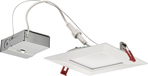 Lithonia Lighting WF6 SQ B LED 50K MW M6 B 14.4W Ultra Thin 6 Square Dimmable Recessed Ceiling 5000K, Daylight in White, 6 inch Baffle, Matte White by Lithonia Lighting