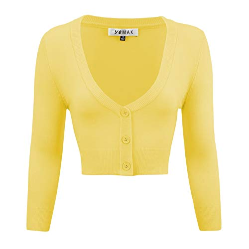 YEMAK Women's Cropped 3/4 Sleeves Cardigan Sweater Vintage Inspired Pinup,Custard,Small