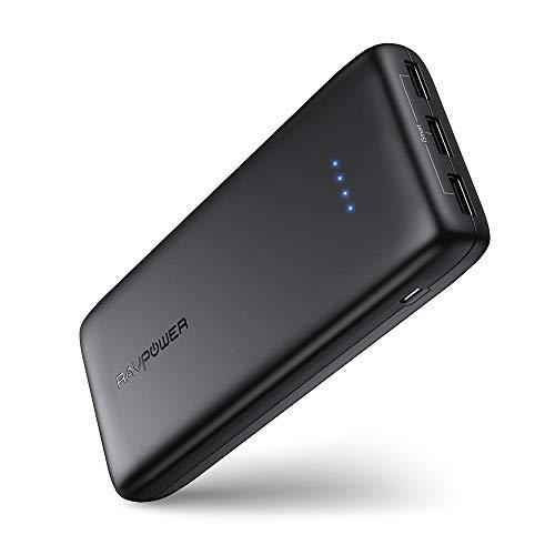 Power Bank 22000mAh 5.8A 3 Puertos Li-Polímero Batería Externa RAVPower, Panasonic Inteligente IC, UL94 V-0 PC resistente al fuego / ABS de la aleación, Para Smartphone Tablet PC (Negro)